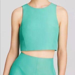 Tibi Faille cropped green silk top